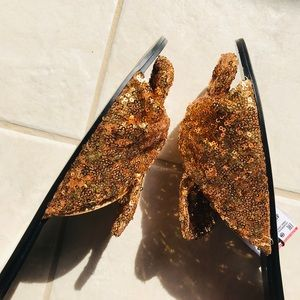 Zara Shoes - Zara Gold Sequined Slide Mules